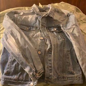 Pacsun women's large jean denim jacket with flag
